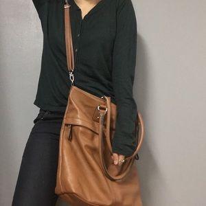 Brown Leather Crossbody Hobo Bag